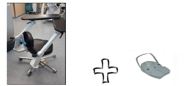 A Surgeon chair with a foot pedal control
